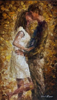 FIRST KISS - canvas art painting by Leonid Afremov https://afremov.com/FIRST-KISS-Oil-Painting-On-Canvas-By-Leonid-Afremov-15X25.html