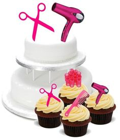 Novelty Hairdressing Mix Pack 2 Large 12 Cupcake Stand Up Cake Toppers Birthday