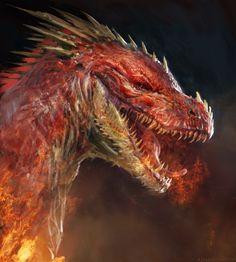 "adventure-fantasy: "" Red dragon by Manzanedo "" White Dragon, Red Dragon, Fantasy Creatures, Mythical Creatures, Greek Creatures, Rpg Horror, Dragon Rouge, Figurine Dragon, Sublime Creature"