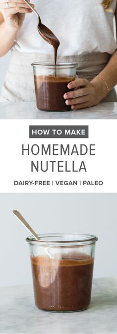 The best homemade nutella recipe. A delicious, dairy-free, vegan, paleo, healthier alternative to store-bought nutella with a step-by-step tutorial video.