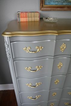 SOLD Gold Detail French Provincial Set by HayleonVintage on Etsy SOLD Gold Detail French Provincial Set by HayleonVintage on Etsy Refurbished Furniture, Paint Furniture, Repurposed Furniture, Furniture Projects, Furniture Making, Furniture Makeover, Furniture Design, Bedroom Furniture, French Provincial Furniture