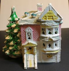 COLLECTIBLE DEPT 56 SNOW VILLAGE BUILDING--VICTORIAN HOUSE 1977-79 PINK WHITE