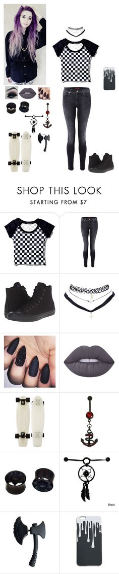 """Untitled 42"" by dreadful-glassheart ❤ liked on Polyvore featuring Current Mood, 7 For All Mankind, Converse, Wet Seal, Lime Crime and NOVICA"