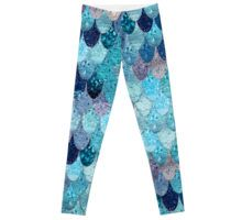Teal Mermaid Fish Scale Leggings | Fashion design by Monika Strigel