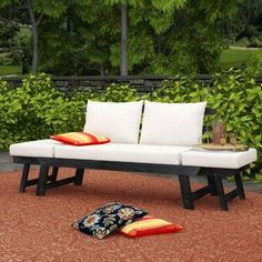 Alston Wood Outdoor Sofa Daybed with White Cushion in 2020 ...