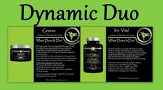 Dynamic Duo - GREENS (alkalizing drink powder equivalent to 8+ servings of fruits and vegetables per serving) and IT'S VITAL (plant-based, whole-food multivitamin) By It Works Global. https://wrappingwithmandy.myitworks.com/Home