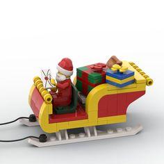 Lego Christmas Ornaments, Lego Christmas Village, Lego Winter Village, Lego Truck, Lego Design, Lego Projects, Santa Sleigh, Lego Instructions, Lego Ideas
