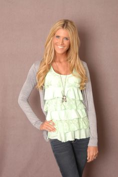 Mint Green Ruffle Top - This website has such cute and affordable stuff!