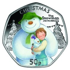 Isle of Man 2014 - The Snowman™ and The Snowdog - Coloured Proof Sterling Silver… Rare British Coins, Rare Coins, Mint Coins, Silver Coins, Snowman And The Snowdog, Fifty Pence Coins, Snowmen Pictures, 50p Coin, Foreign Coins