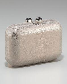 Retail $650 Kotur Margo silver lizard leather Clutch #Kotur #Clutch