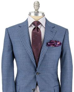 Canali | Blue with Navy and Bordeaux Plaid Sportcoat | Apparel | Men's