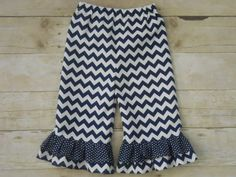 Ruffles Galore Boutique Girls Pants--Navy Blue Chevron and Dots--Sizes 3 months-10 years