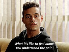 Mr Robot ( I just started watching it and I love it. Rami Malek is perfect for the role ) Mr Robot, Robots, Tv Show Quotes, Movie Quotes, Rami Malik, Rami Said Malek, Night At The Museum, American Gods, Geek Out