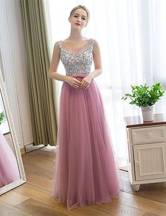 Prom / Formal Evening Dress Sheath / Column Scoop Floor-length Satin / Tulle with Sequins 4968383 2016 – $128.69