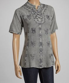 Take a look at this Gray Three-Frog Short-Sleeve Top by The OM Company on #zulily today! $22 !!