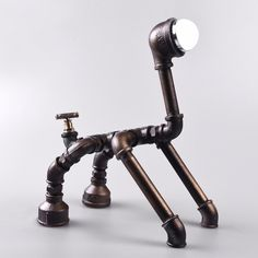 Industrial wind retro simple machine Iron LED lamp puppy ornaments Pipes