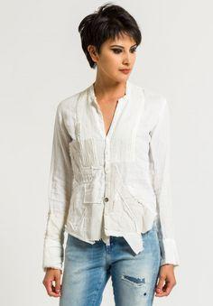 Greg Lauren Patchwork Tux Shirt in White