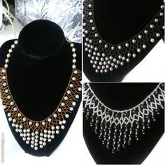 #Beads #Necklace #White #Gold #Weave #Seed #Round