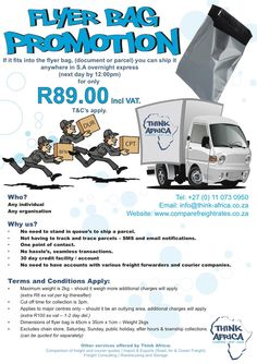Don't Miss Out - If it fits into a Flyer bag (document or parcel) we'll ship it anywhere in S.A overnight express for ONLY incl Vat - T&C's Apply Media Design, Renewable Energy, Africa, How To Apply, Ship, Ads, Fitness, Ships