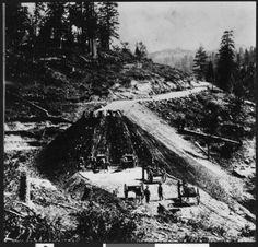 Horse-drawn carts being used for construction on a segment of Southern Pacific Railroad in a mountainous region, ca.1860 :: California Historical Society Collection, 1860-1960