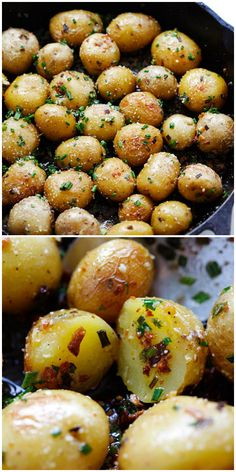 Garlic Chive Butter Roasted Potatoes - roasted baby potatoes with garlic, chives, butter and Parmesan cheese. The only roasted potatoes recipe you'll . Side Dish Recipes, Veggie Recipes, Great Recipes, Vegetarian Recipes, Cooking Recipes, Healthy Recipes, Recipes With Chives, Roasted Vegetable Recipes, Easy Steak Recipes