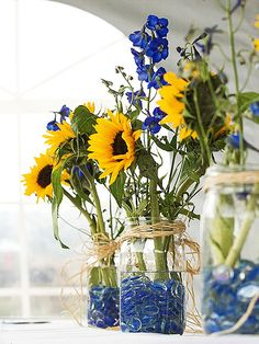 sunflower centerpieces Garden Ideas, Wedding Boutonniere, Yellow, Fiestas, Everything, Flower, Yard Ideas, Landscaping Ideas, Backyard Ideas