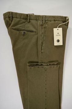 NWT ZANELLA pantalone uomo SPORTIVO cotone STRETCH salvia A/I tg.50-52-54-58(IT)