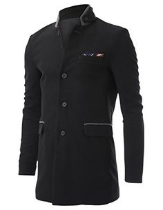 FLATSEVEN Men's Stand Up Point Collar 4 Button Waffle Fabric Casual Long Blazer Jacket with Handkerchief (BJ504) Black, Boys L FLATSEVEN #mens fashion #menswear #mens jackets #casual