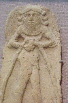 Terracotta plaque of a magical spirit with water flowing inexhaustibly from a vase. Old Babylonian 2000-1750 BCE from Ur