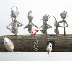 Rustic fishing family wind chime made from upcycled spoons. How freakin cool! This Etsy shop has a ton of awesome items for sale!