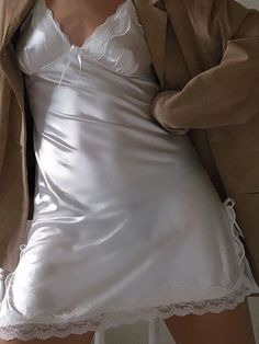 Satin Nightie, Retro Lingerie, Lingerie Outfits, Slit Skirt, Ladies Slips, Silk Satin, Nightwear, Night Gown, Bodycon Dress
