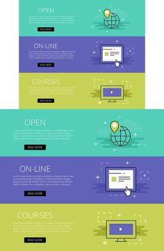 Open On-line Courses banner set. Web Elements. $3.00