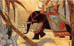 Elephant Procession,Art Nouveau,1920's Vintage Print::Vintage Prints from L'Illustration::Vintage Prints of Masterpieces from Famous Artists::Vintage Prints::Antique Prints and Antique Maps from Vintage-Views.com