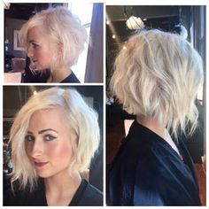 A-line symmetrical inverted bob haircut with bleach and tone