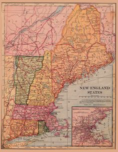 An poster sized print, approx (other products available) - New England states map 1898 - Image supplied by Fine Art Storehouse - Poster printed in the USA England Map, New England States, Vintage Maps, Antique Maps, Fine Art Prints, Canvas Prints, Old Maps, State Map, Collage Sheet