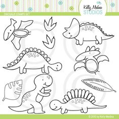 Dinosaur - Digital Stamps, Elements Commercial use for Cards, Stationery and Paper Crafts and Products by Kelly Medina. $5.00, via Etsy.:
