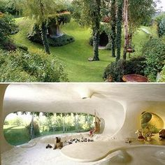 The Organic House (Naucalpan / Mexico): curious-places. Organic Architecture, Architecture Design, Residential Architecture, Contemporary Architecture, Pavilion Architecture, Japanese Architecture, Earth Sheltered Homes, Earth Bag Homes, Earthship Home