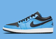The Air Jordan 1 Low Surfaces In A Bold University Blue Colorway Jordan 1 High Og, Air Jordan 3, Sneaker Art, University Blue, Black Wings, Cool Tones, Nike Air Force, Jordans, Sneakers Nike