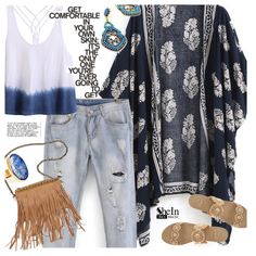 Floral Loose Kimono by ansev on Polyvore featuring moda, Jack Rogers, Patchington, Janna Conner, vintage and shein