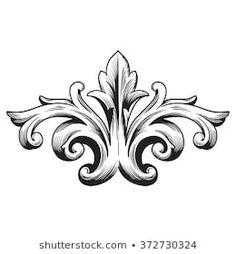 Baroque Tattoo, Filigree Tattoo, Gothic Pattern, Retro Pattern, Baroque Frame, Molduras Vintage, Ornament Drawing, Celtic Patterns, Wood Carving Patterns
