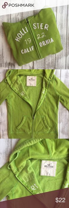 HOLLISTER ZIP UP SWEATER Hollister zip up sweater with hood. Lime color with white. Very good condition. Size Large. Hollister Sweaters