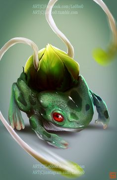 Pokemon Project 001 Bulbasaur by Sergio Palomino Oc Pokemon, Pokemon Fan Art, Pokemon Fusion, Cute Pokemon, Pokemon Cards, Pokemon Stuff, Pokemon Na Vida Real, Pokemon In Real Life, Science Fiction