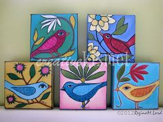 I was going to paint bird ornaments, but just wasn't feeling it. What was calling to me were these canvases. They needed birds on them, so I went with it. When I do what is calling to me, everything … Continue reading → Small Canvas Paintings, Mini Canvas Art, Mini Paintings, Indian Paintings, Abstract Paintings, Canvas Art Projects, Pottery Painting Designs, Art Painting Gallery, Indian Folk Art