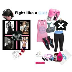 Fight like a Girl by thedyb on Polyvore  Ways to fight like a girl.  #fashion #fashionset #exercise #workout #fitness #boxing #boxer #running #runners #workoutgear #workoutclothes #Sports #sportystyle #StreetStyle #sportsbra #tanktop #croptop #t-shirt #leggings #tank #top #sneakers #runningshoes #pink #black #LIGHTITUPBLUE #lightblue #skyblue #blue #fuchsia #blackandwhite #handwrap #activitymonitor #armband #equipment #helmet #jumprope #jumpinrope #towel #music #ipod #jlo