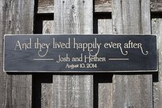 And They Lived Happily Ever After Shabby Chic Wedding Gift Wood Sign - 8x30 Wedding Carved Engraved Handpainted Rustic Wooden Sign