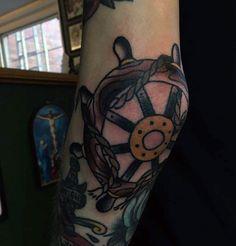 Cool Sailor Jerry elbow tat