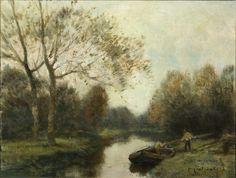 Jacques Witjens Stephans   Paisaje lacustre   s.f.   Óleo sobre tela   50 x 70 cm