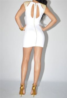 #Bebe #Dress Size XS 0 2 White Cutout Gold Studded Bandage Bodycon [Buy New: $219.00 ]