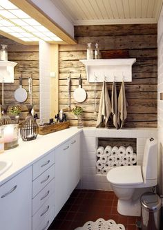 Most Popular Small Bathroom Remodel Ideas on a Budget in 2018 This beautiful look was created with cool colors, and a change of layout. Laundry In Bathroom, Small Bathroom, Home Interior, Interior Decorating, Faux Brick Walls, Love Home, Cozy House, Cool Kitchens, Sweet Home