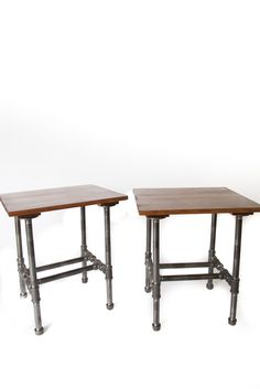 "Set of two industrial pipe end tables with pine stained chestnut tops. 20"" X 17"" X 22 1/2"".  For furniture purchase info email me at LilBoPipe@gmail.com and check out www.facebook.com/BoPipe. Tag: industrial pipe furniture urban diy iron vintage wood crate Bo metal"